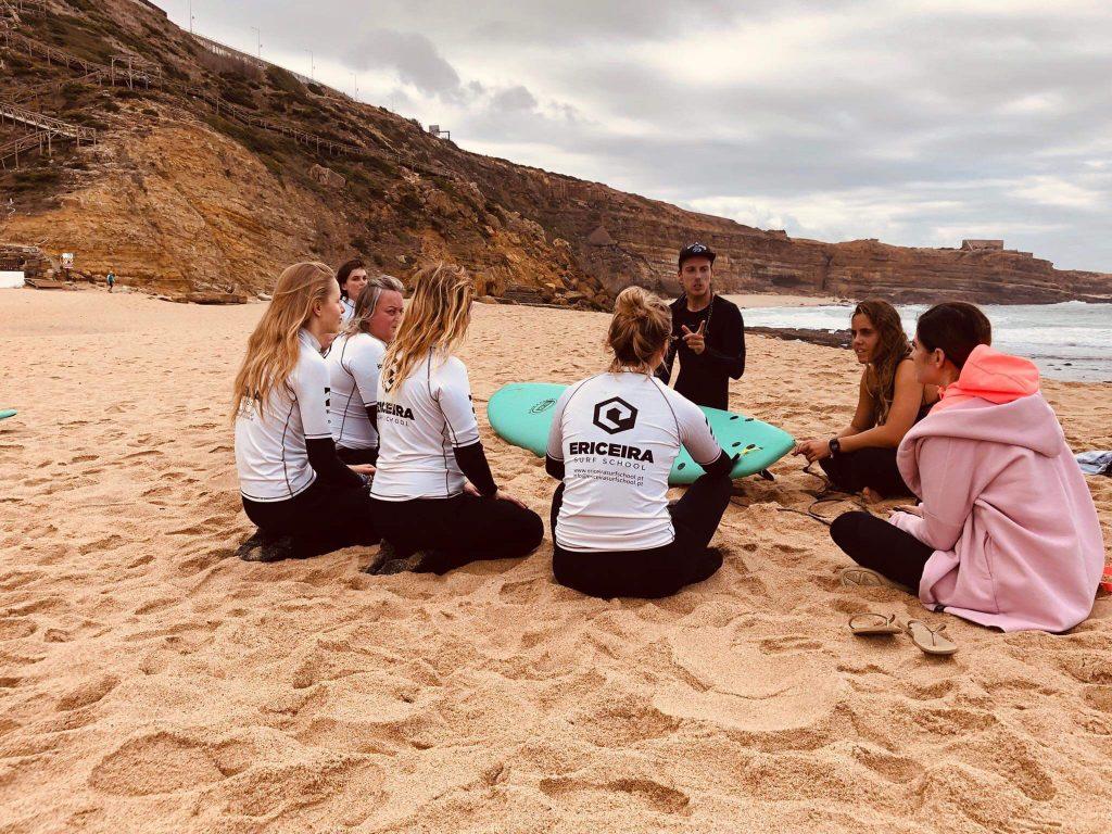 Surf lesson on the beach, Ribeira d'Ilhas, Ericeira